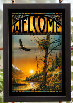Flying Free Bald Eagle Birds Stained Glass Welcome Wall Art