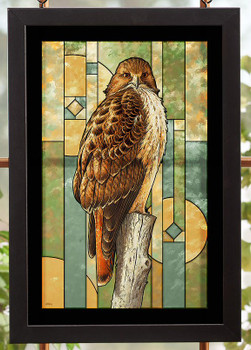 Red Tailed Hawk Bird Stained Glass Wall Art