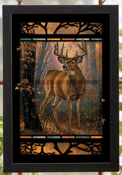 Woodland Mist Deer Stained Glass Wall Art