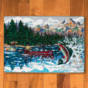 4' x 5' Paint By Numbers Lake Trout Wildlife Rectangle Rug