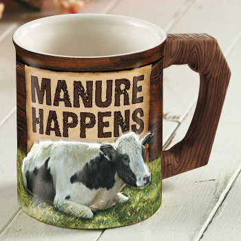 Manure Happens Cow Sculpted Stoneware Coffee Mugs, Set of 6