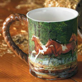 Spring Creek Run Horses Sculpted Stoneware Coffee Mugs, Set of 6