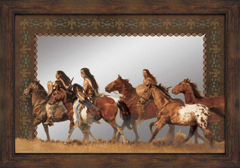 Return of the Stolen Ponies Wall Mirror with Wood Frame