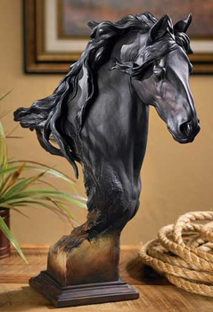 Equus Fresian Horse Bust Hand Painted Sculpture