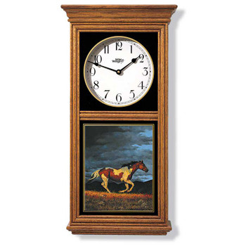 Running Horse Medium Oak Wood Regulator Wall Clock