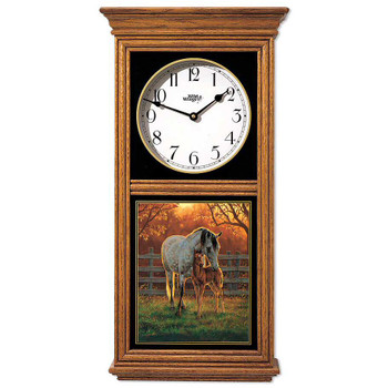 Horses Mare and Foal Medium Oak Wood Regulator Wall Clock