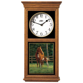 Josie Horses Mare and Foal Medium Oak Wood Regulator Wall Clock