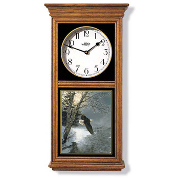 Flying Bald Eagle Bird Scene Medium Oak Wood Regulator Wall Clock