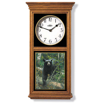 Black Bear in the Forest Medium Oak Wood Regulator Wall Clock