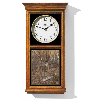 Whitetail Deer in the Forest Medium Oak Wood Regulator Wall Clock