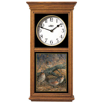 Hideaway Bobwhite Quail Birds Medium Oak Wood Regulator Wall Clock