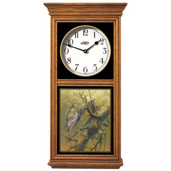 Hung Up Northern Pike Fish Medium Oak Wood Regulator Wall Clock