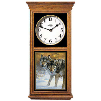 Body Language Two Wolves Medium Oak Wood Regulator Wall Clock
