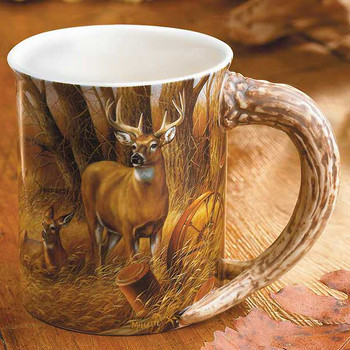 Rustic Retreat Whitetail Deer Sculpted Stoneware Coffee Mugs, Set of 6