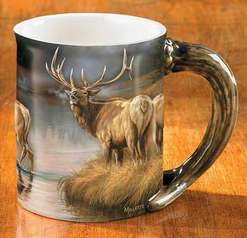 Autumn Mist Elk Sculpted Stoneware Coffee Mugs, Set of 6
