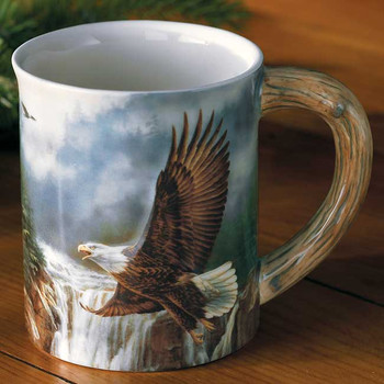 Majestic Flight Bald Eagle Sculpted Stoneware Coffee Mugs, Set of 6