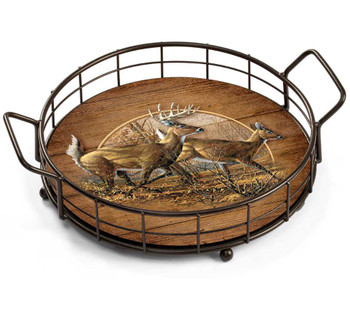 Autumn Run Deer Metal and Wood Serving Trays, Set of 2