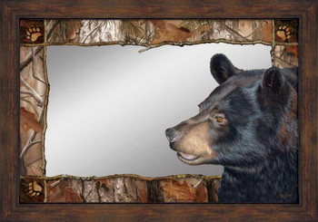 Bruin Bear Wall Mirror with Wood Frame