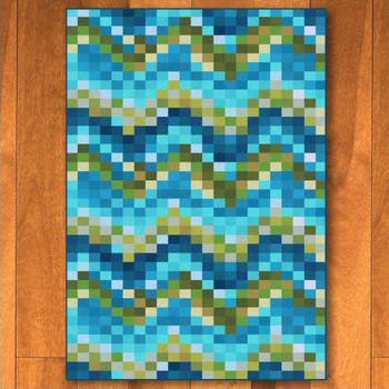5' x 8' Abstract Spa Tiles Aqua Rectangle Rug