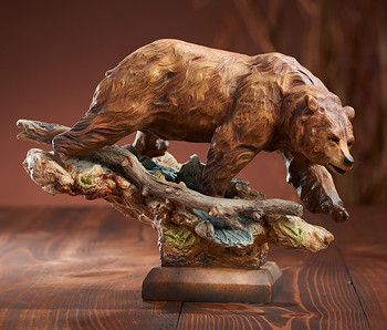Taking the Lead Walking Bear Hand Painted Sculpture