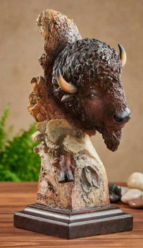 Dust and Thunder Bison Hand Painted Sculpture