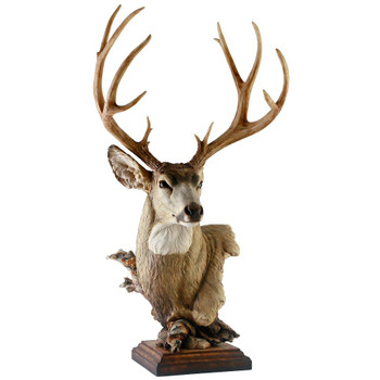 Out West Mule Deer Hand Painted Sculpture