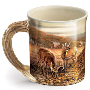 Sharing the Bounty Whitetail Deer Stoneware Coffee Mugs, Set of 6