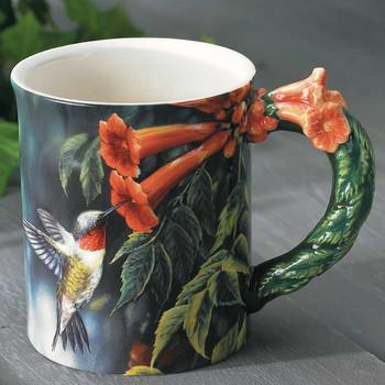 Ruby-throated Hummingbird Sculpted Stoneware Coffee Mugs, Set of 6