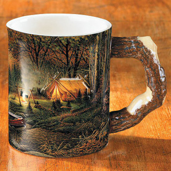 Evening Solitude Camping Sculpted Stoneware Coffee Mugs, Set of 6
