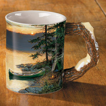 Summer Sunrise Camping Sculpted Stoneware Coffee Mugs, Set of 6