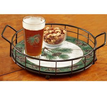 Pinecone Metal and Wood Serving Trays, Set of 2