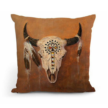 "18"" Big Medicine Buffalo Skull Square Throw Pillows, Set of 4"