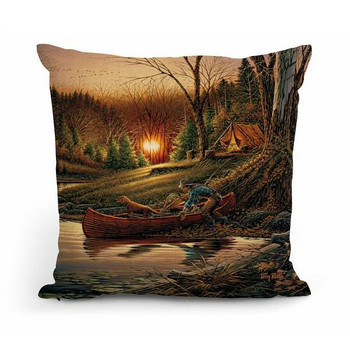 """18"""" Morning Solitude Camping Scene Square Throw Pillows, Set of 4"""