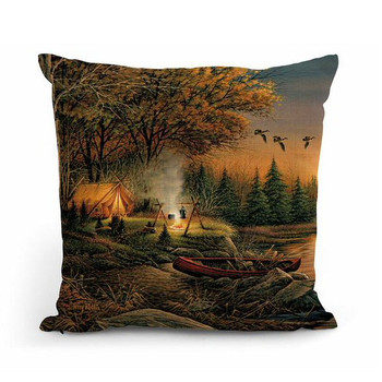 """18"""" Evening Solitude Camping Scene Square Throw Pillows, Set of 4"""