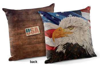 "18"" Freedom Bald Eagle Bird USA Square Throw Pillows, Set of 4"