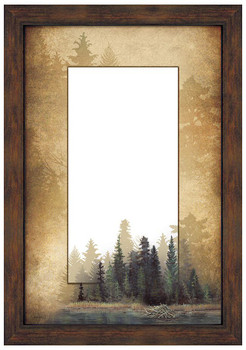 Misty Forest Scenery Framed Wall Mirror