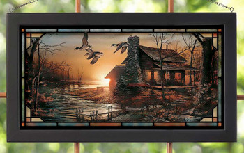 Golden Retreat Stained Glass Wall Art