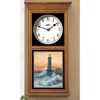 Storm Tide Lighthouse Medium Oak Wood Regulator Wall Clock