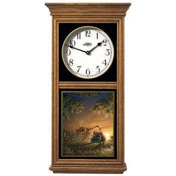 Sunset Harvest Farm Medium Oak Wood Regulator Wall Clock