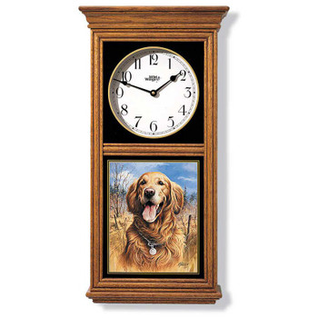Golden Retriever Dog Medium Oak Wood Regulator Wall Clock