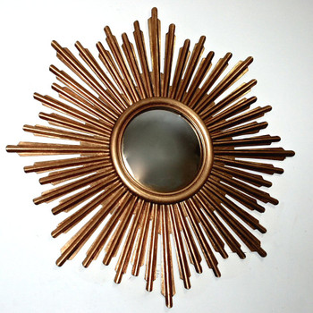 Antique Gold Sunburst Iron Wall Mirror