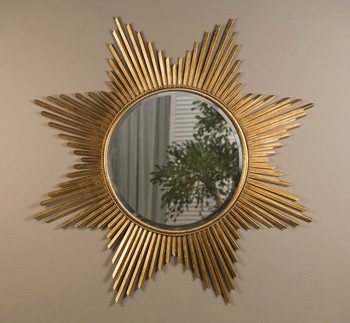 Antique Gold Starburst Iron Wall Mirror