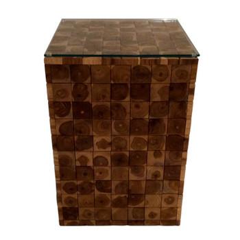 Teak Wood Tile Square Accent Table