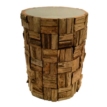 Teak Wood Bark Round Accent Table