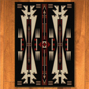 5' x 8' Horse Thieves Black Southwest Rectangle Rug