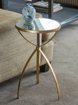 Antique Gold Mirrored Top Iron Accent Table