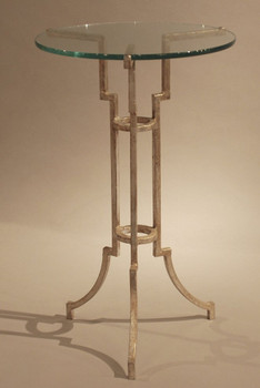 Antique Silver Iron Tripod Accent Table with Glass Top