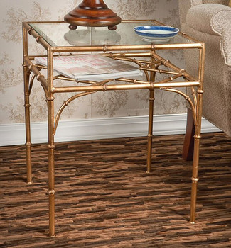 Antique Gold Iron Bamboo Table with Beveled Glass Top