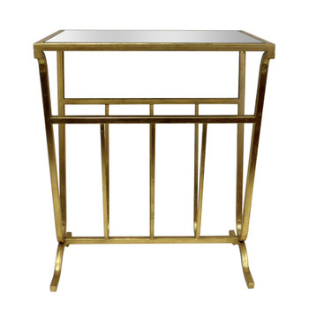 Gold Magazine Iron Table with Mirror Top