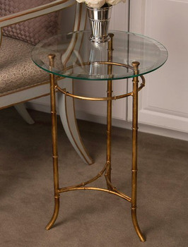 Antique Gold Iron Bamboo Side Table